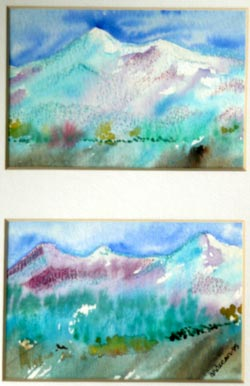 water color mountains
